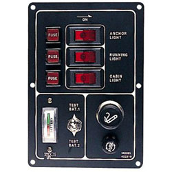 Sea-Dog 2-Bank Battery Tester with Rocker Switch Panel