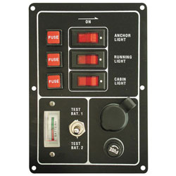 Whitecap 3-Circuit Switch Panel w/ Fuse Holders, Battery Meter and Outlet