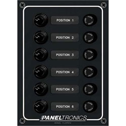Paneltronics Waterproof Switch Panel - Vertical - 15A Fuse - 6 Switches