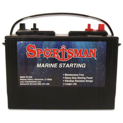 Sportsman Starting Marine Battery 12 Volt Lead Acid, Group 27