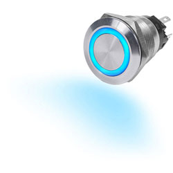 Blue Sea 10 Amp Push Button Switch Illuminated with LED Ring