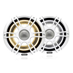 Fusion Coaxial Sports White Marine Speaker with LED