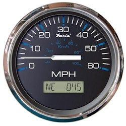 Faria Chesapeake SS Black GPS 60 MPH Speedometer with LCD Display