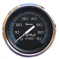 Faria Chesapeake Black SS 7000 RPM Tachometer with Hourmeter