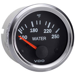 VDO Marine Vision Chrome Water Temperature Gauge & Sender Kit