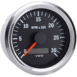 VDO Marine Vision Chrome 3000 RPM Tachometer with Hour meter