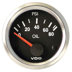 VDO Marine Vision Chrome Oil Pressure Gauge & Sender Kit (350-1941)