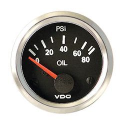 VDO Marine Vision Chrome Oil Pressure Gauge & Sender Kit (350-1942)