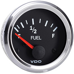 VDO Marine Vision Chrome Fuel Level Gauge & Sender Kit