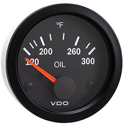 VDO Marine Vision Black Oil Temperature Gauge & Sender Kit