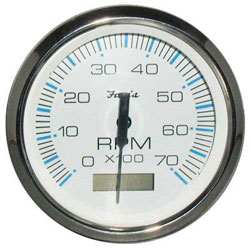 Faria Chesapeake White SS 7000 RPM Tachometer with Hourmeter