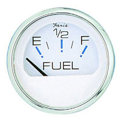 Faria Chesapeake White SS Fuel Level Gauge