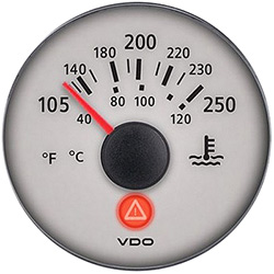 VDO Marine Viewline Sterling Water Temperature Gauge & Sender Kit