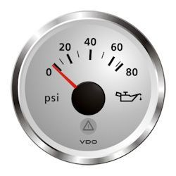 VDO Marine Viewline Sterling Oil Pressure Gauge & Sender Kit