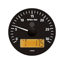 VDO Marine Viewline Onyx 3000 RPM Tachometer with Multifunction LCD