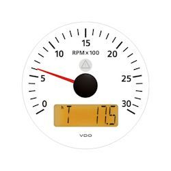 VDO Marine Viewline Ivory 3000 RPM Tachometer with Multifunction LCD