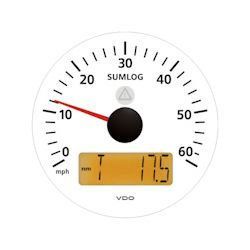 VDO Marine Viewline Ivory 60 MPH Sumlog with Odometer, Clock and Voltmeter