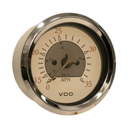 VDO Allentare Pitot Speedometer Gauge - Illuminated - 35 MPH White-Gray/Chrome