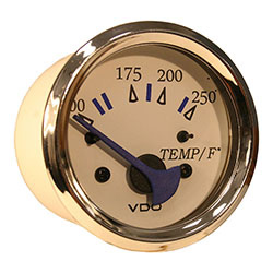 White Faced 100-250F Inboard or Sterndrive Temperature Gauge with Chrome Bezel