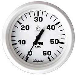 Faria Dress White 6000 RPM Tachometer