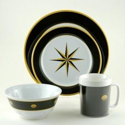 Galleyware Melamine Dinnerware Set - Black Compass