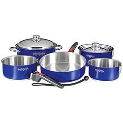 Magma 10-Piece Cobalt  Blue Nesting Cookware Set with Stainless Steel Interior