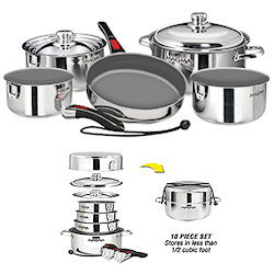 Magma 10 Piece Nesting Stainless Steel Cookware Set with Ceramica Non-Stick