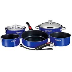 Magma 10-Piece Cobalt  Blue Nesting Cookware Set with Ceramica Non-Stick