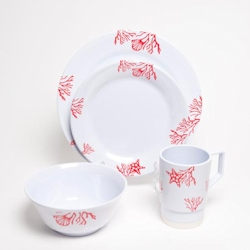 Galleyware Melamine Dinnerware Large Box Set - Coral
