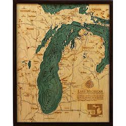 Wood Chart Lake Michigan - Large Size - Internet Orders Only