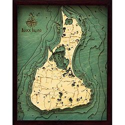 Wood Chart Block Island - Small Size - Store Pick-Up Only