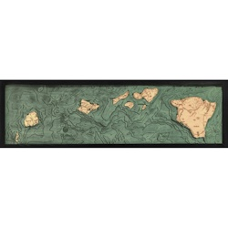 Wood Chart Hawaiian Islands Chain