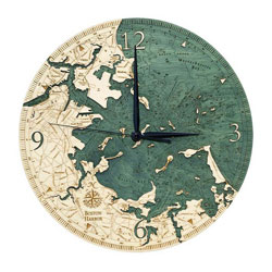 Wood Chart Boston Harbor Wall Clock