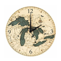 Wood Chart Great Lakes Wall Clock