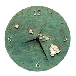 Wood Chart Hawaiian Islands Wall Clock