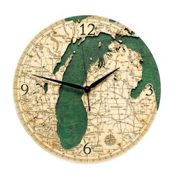 Wood Chart Lake Michigan Wall Clock