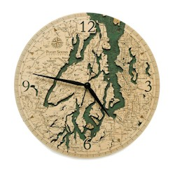 Wood Chart Puget Sound Wall Clock