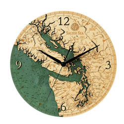 Wood Chart Salish Sea Wall Clock
