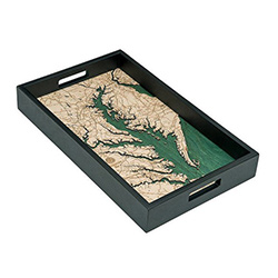 Wood Chart Chesapeake Bay Serving Tray