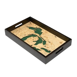Wood Chart Great Lakes Serving Tray