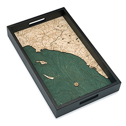 Wood Chart Los Angeles to San Diego Serving Tray