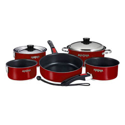 Magma Gourmet Series Stainless Steel Induction Cookware Set - Magma Red