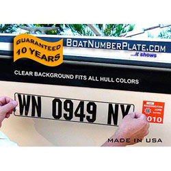 Boat Number Registration Plate for Rigid Hull Boats