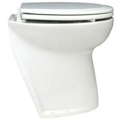 Jabsco Deluxe Flush Electric Toilet, Slanted Base, Raw Water