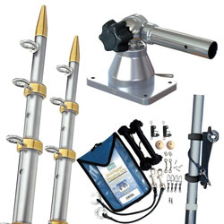 TACO Marine GS-170 Grand Slam Outrigger Kit - Silver / Gold