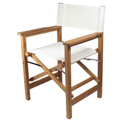 SeaTeak Folding Director's Chair with Fabric Seat and Back