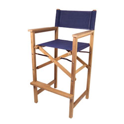 SeaTeak Folding Captain's Chair with Fabric Seat and Back