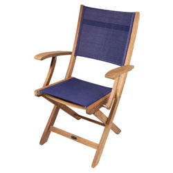 SeaTeak Bimini Folding Teak Chair with Fabric Seat and Back