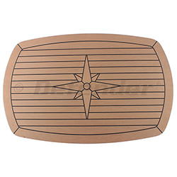 EUDE Composite Teak Table with Nautic Star, Soft Corners