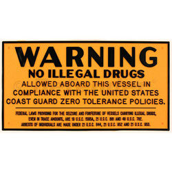 Bernard Marine Regulation Placard - No Illegal Drugs on Vessel